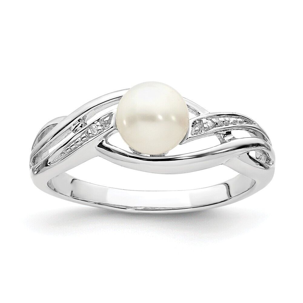 Sterling Silver FW Cultured Pearl /& 0.01 CT Diamond Ring 2.30 gr Size 6 to 9