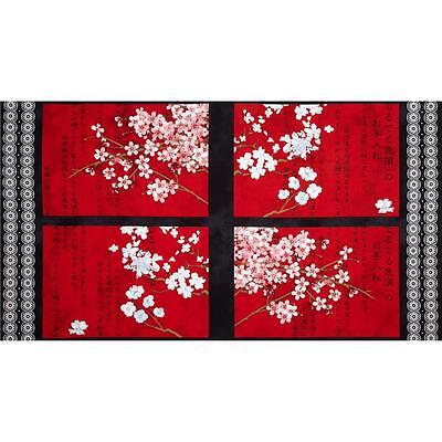 Hanami Falls Asian panel Quilt Kit 100% Cotton fabric by Evelia Cherry blossom Cherry Blossom Fall