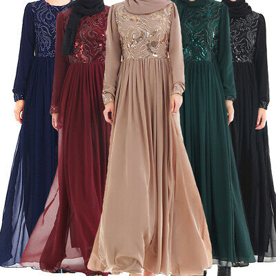 Dubai Muslim Women Lace Sequin Embroidery Robe Abaya Jilbab Kaftan Maxi Dress
