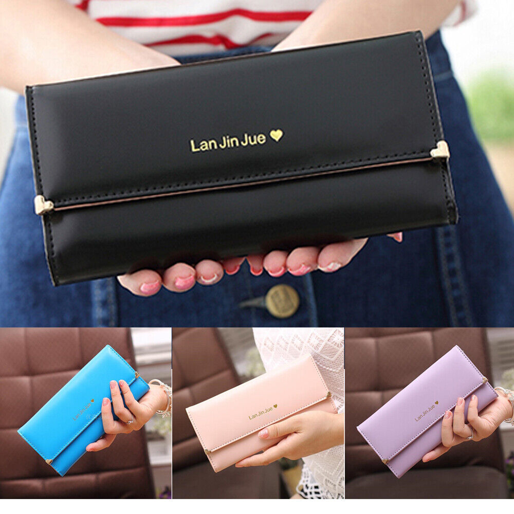 Women Long Wallet Leather Trifold Multi Card Holder Organizer Clutch Handbag US Clothing, Shoes & Accessories