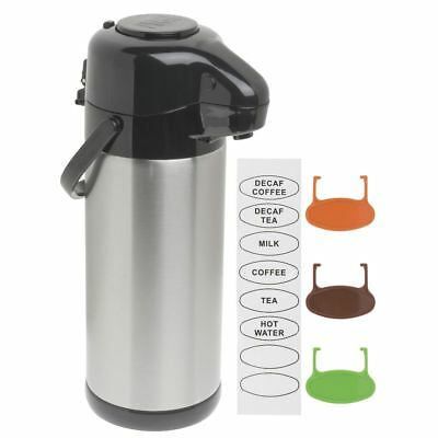 Hubert Thermal Airpot Coffee Server With Pump Lid 3 Liter Stainless Steel