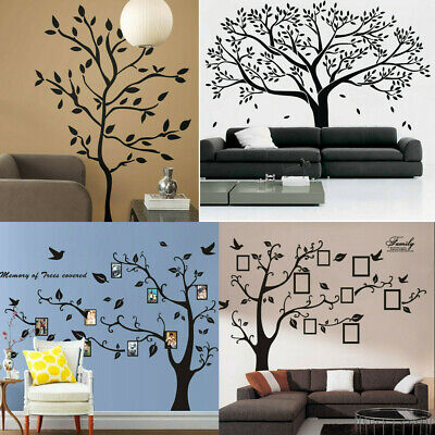Home Wall Decals (Black Family Tree Sticker Wall Decals Removable Vinyl Mural Art DIY Home)