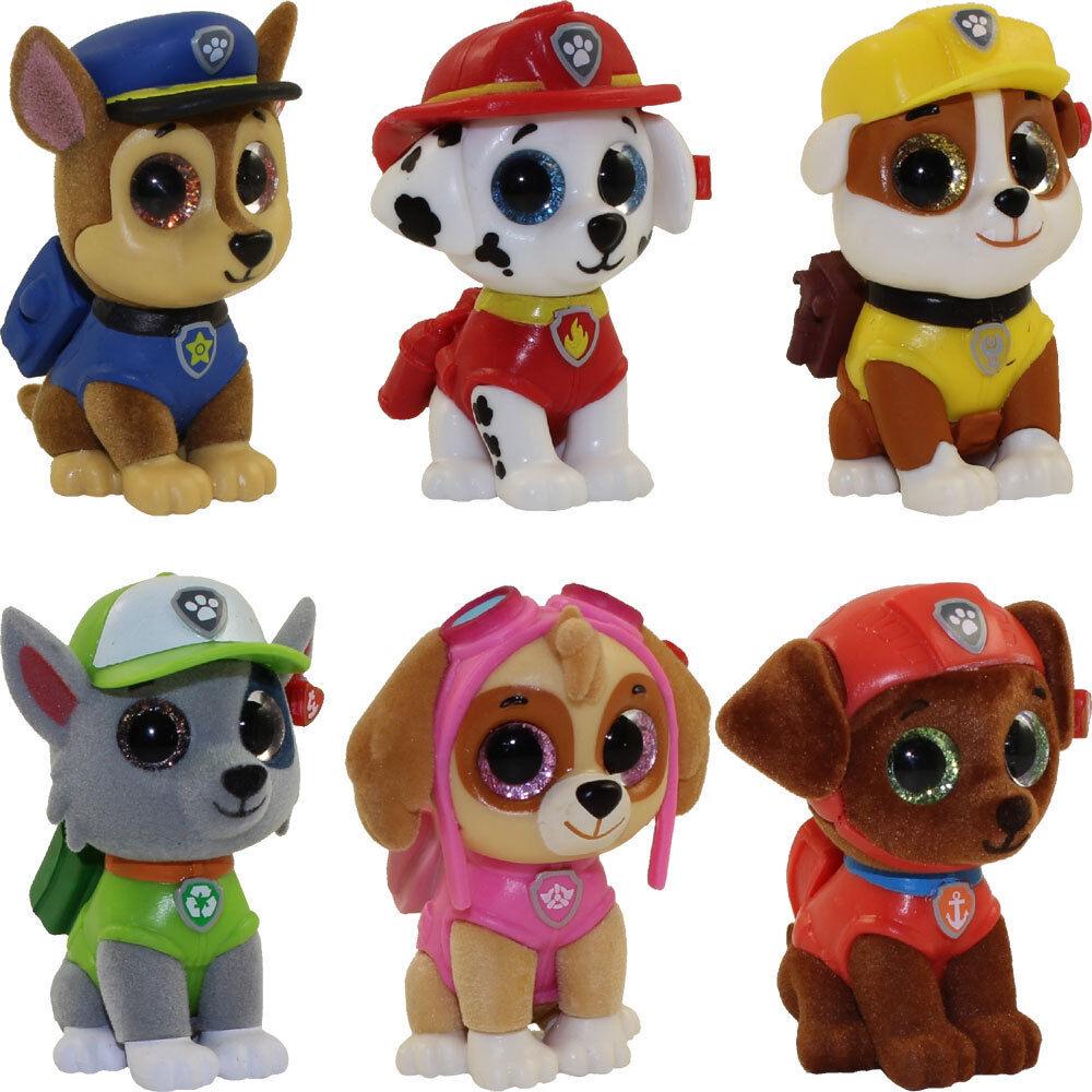 SET OF 6 TY Mini Boos Paw Patrol Figures Chase Skye Rocky Zu