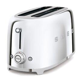 SMEG Toaster TSF02SSUK 4 slot stainless steel toaster