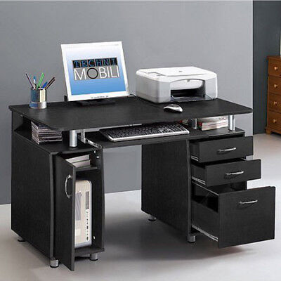 Home Appointment Computer PC Desk Workstation Study Writing Table With 3 Drawer Black
