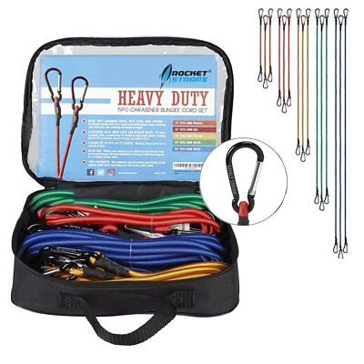 Rocket Straps   15PC Bungee Cords with Hooks - Aluminum Carabiners   Bungee Cord