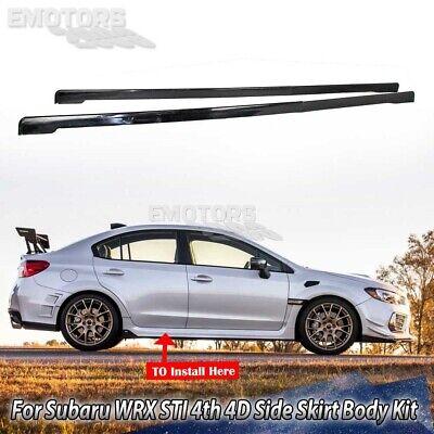 Unpainted Black For Subaru WRX STI 4th 4Dr Saloon Side Skirt Body Kit 15-19
