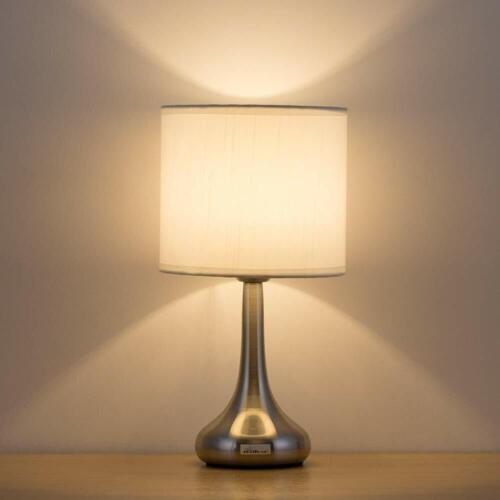 Small Modern Nightstand Lamp   White Fabric Shade and Brushe