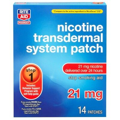 Nicotine Transcendental System Patch 21 mg 2 patches step 1 Rite Aid exp 1/19