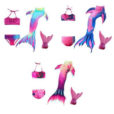 Kids Girls Women Fin Mermaid Tail Monofin Swimmable Tail Pink Swimming Costume (Girls Pink Mermaid Costume)