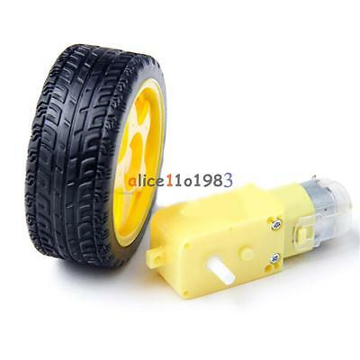 4pcs Arduino Smart Car Robot Plastic Tire Wheel With Dc 3-6v 3v 5v 6v Gear Motor