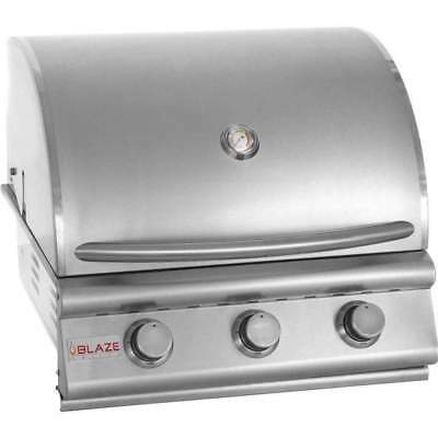 """Blaze Built-In Gas Grill, 25"""" Stainless Steel Cast Burners- Nat Gas Or Lp"""