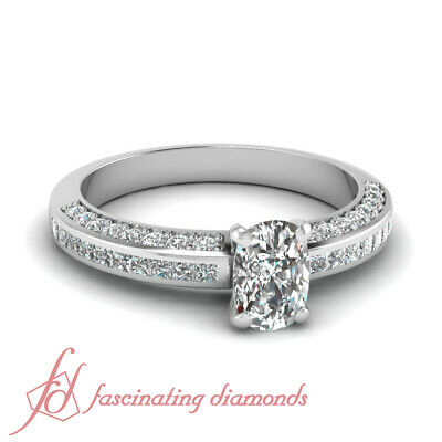 1.25 Ct Cushion Cut Diamond Inline Series Engagement Ring Channel Set 14K GIA