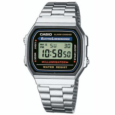 CASIO Retro Classic Unisex Digital Steel Bracelet Watch- A168WA-1YES Silver