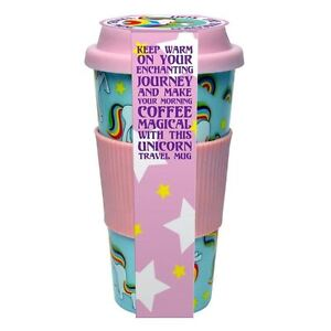 Unicorn Travel Mug Screw-Top Spill Proof Lid & Rubbery Grip Coffee or Tea Cup