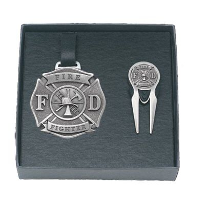 Firefighter Golf Accessories (Firefighter GOLF Set Bag Tag Repair Tool Solid PEWTER w/Gift)