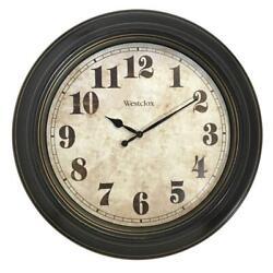 Classic Vintage 24 Round Analog Wall Clock Large Oversized Antique Finish Case