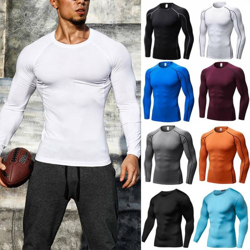 Men's Compression Shirt Thermal Base-Layer Sports Top Long-S