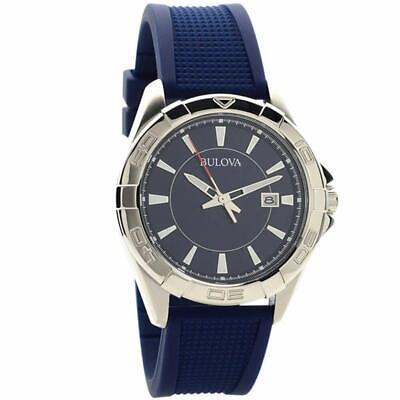 Bulova Men's Quartz Red Second Hand Blue Dial Calendar 43mm Watch 96B298