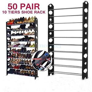 High Quality 50 Pair 10 Tier Space Saving Storage Organizer Shoes Tower Rack * FREE SHIPPING