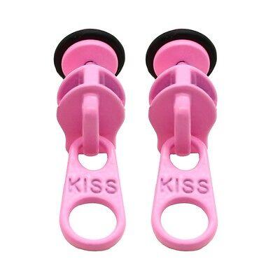 1 Paar Fake Plugs Ohrstecker Reißverschluss Ohrringe Damen - Rosa Reißverschluss Ohrringe