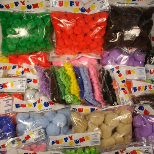 """1 1/2"""" Pom Poms Puffy 50 Piece Pack Made In USA #41210565000 (Choose Color)"""