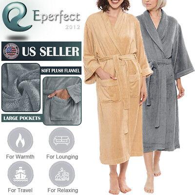 Women Lady Warm Plush Fleece Spa Bathrobe Robe Dressing Gown Sleepwear Xmas Gift ()