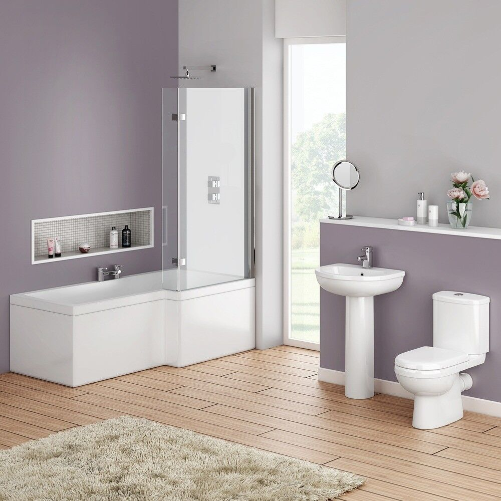 Bathroom Square Showerbath Complete Suite. Modern Taps, Basin and ...