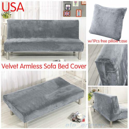 Armless Sofa Bed Cover Stretch Slipcover Velvet Folding Couc