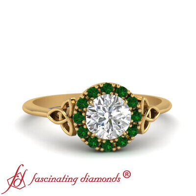 Round Cut Diamond And Emerald Plain Shank Halo Celtic Engagement Ring 0.60 Ctw