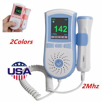 Color LCD Pocket Fetal Doppler Prenatal Heart Baby Monitor 3MHz Dual Interface Dual Pocket Color