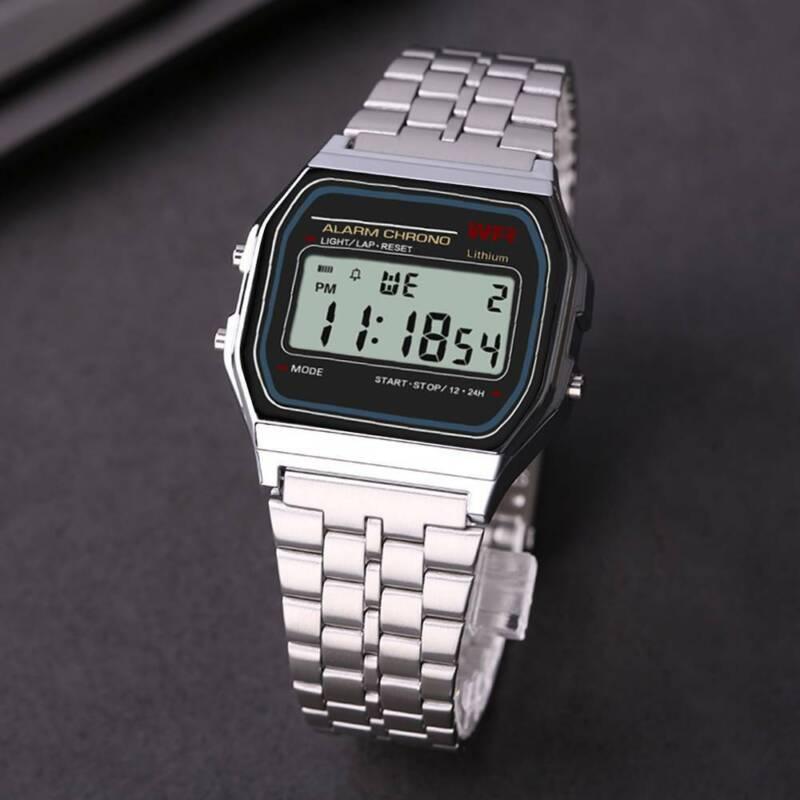 Retro Digitaluhr Armbanduhr Digital Herren Damen Uhr NEU silber mit Beleuchtung