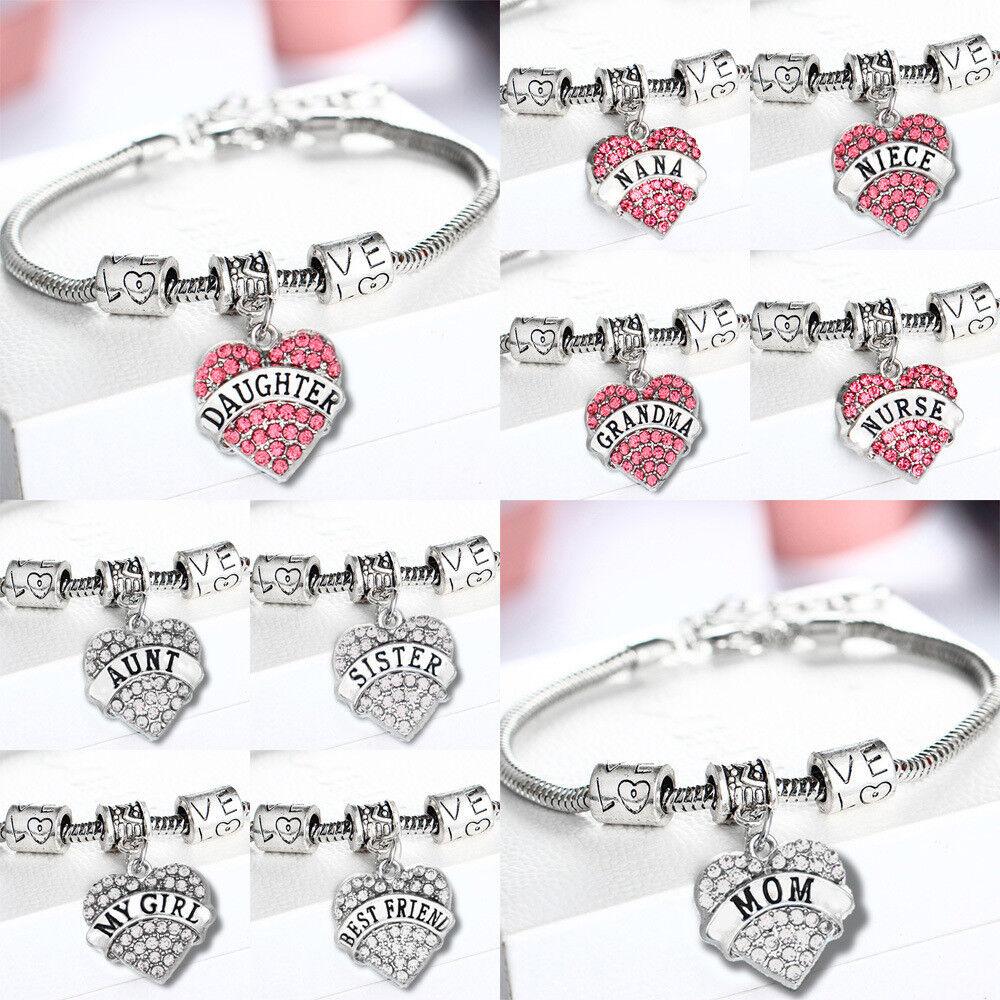 Jewellery - Fashion Family Bangle Charm Bracelet Love Words Heart Women Crystal Jewellery UK