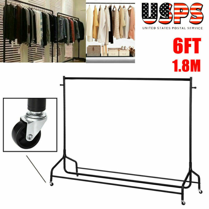 6FT Portable Heavy Duty Commercial Clothing Garment Rolling Rack Chrome w/ Wheel