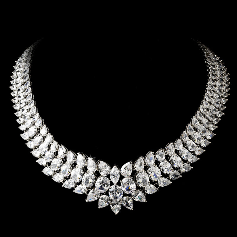 Brides Wedding  Silver Cubic Zirconium Crystal Necklace Bridal Jewelry
