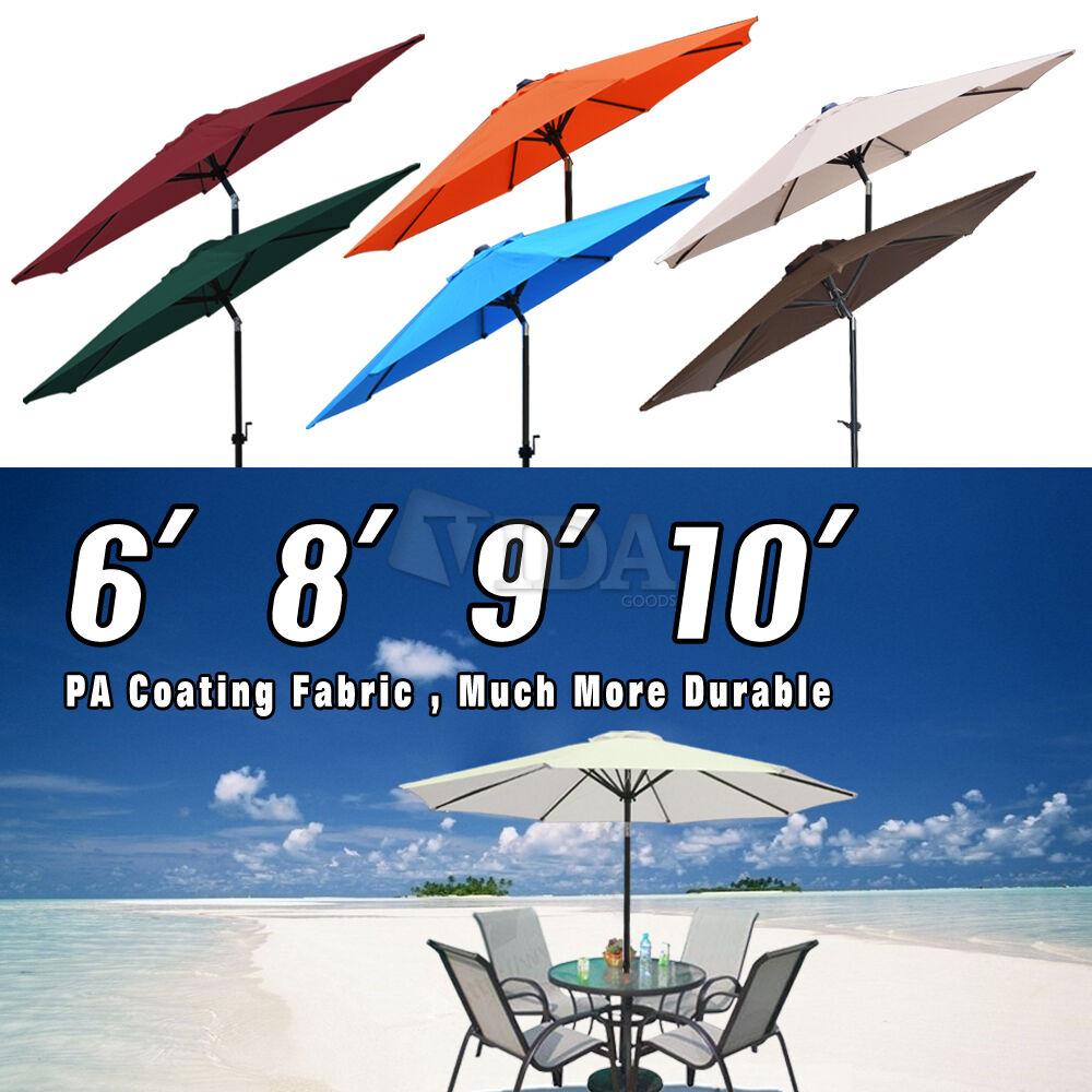 6'-10'ft Outdoor Patio Aluminum Umbrella Common Beach Garden