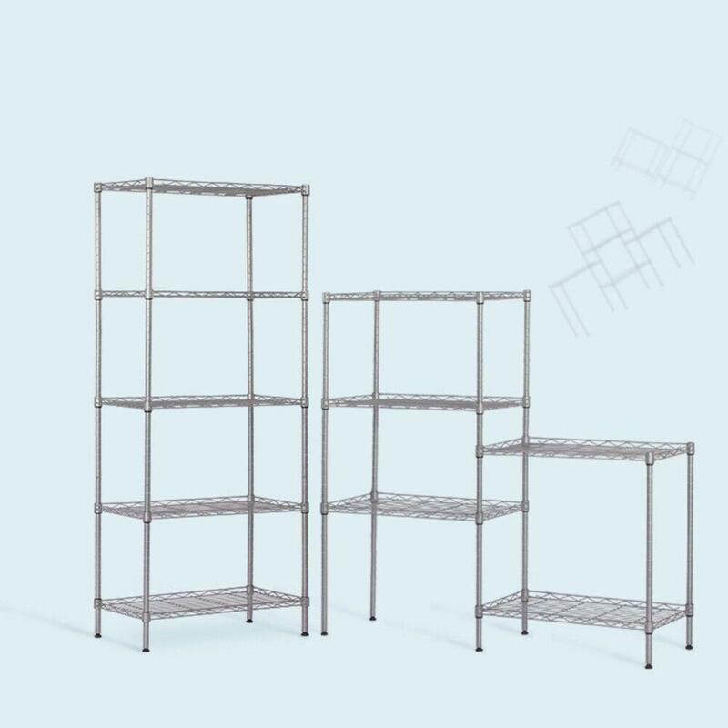 """Heavy Duty 5 Layer 60""""x22""""x12"""" Wire Shelving Rack Adjustable Shelf Storage US"""