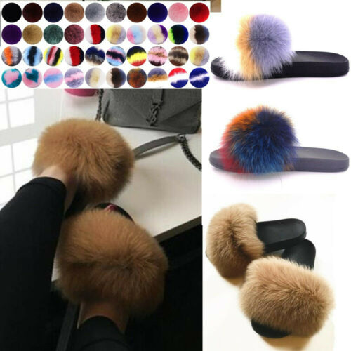 Women's Real Fox Fur Slides Fuzzy Furry Slippers Comfort Sli