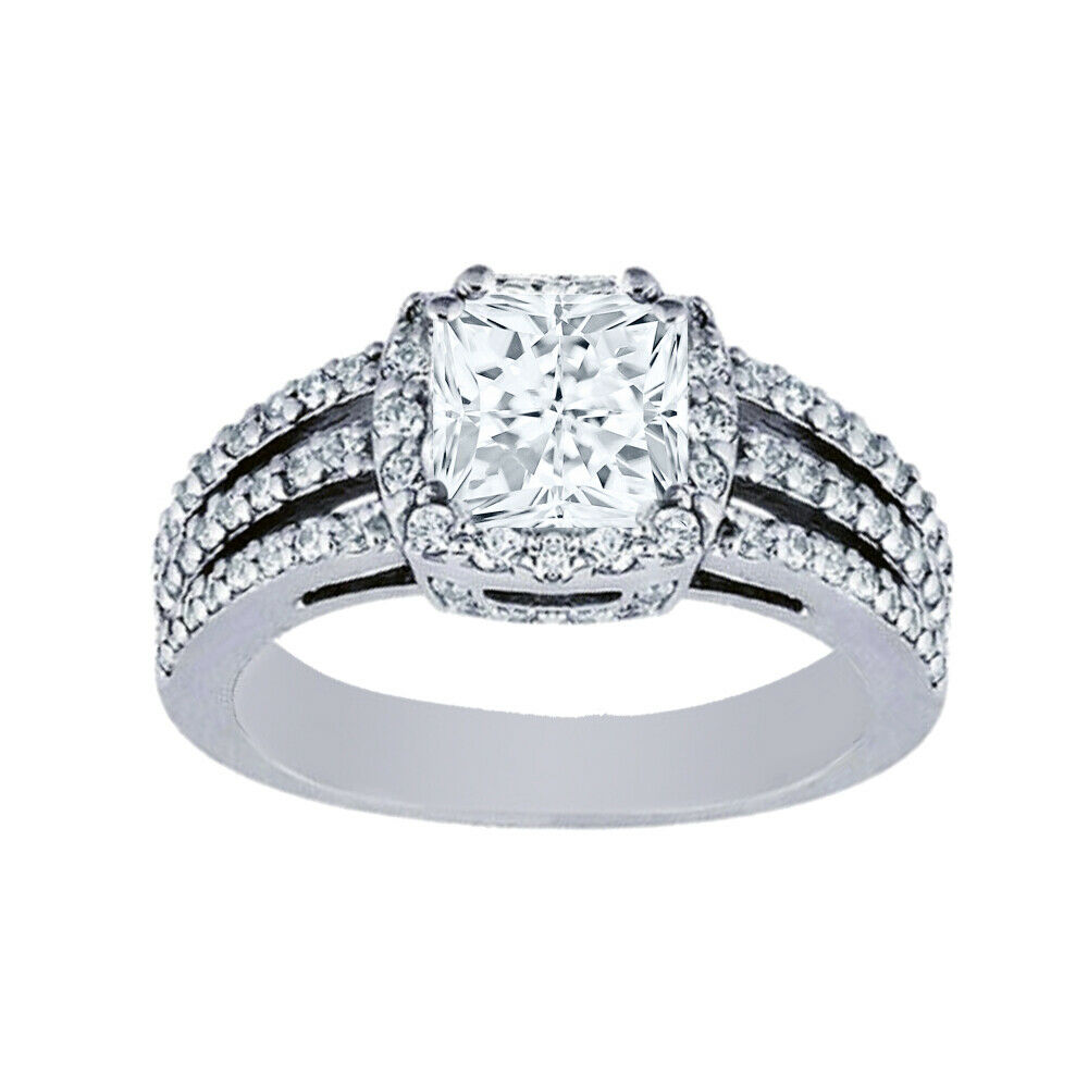 GIA Certified Diamond Engagement Ring 2.11 CTW Princess Cut 14k White Gold