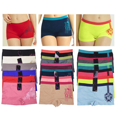 6 Sexy Love Seamless Boyshort Panties Women Underwear Briefs Boy Shorts One Size