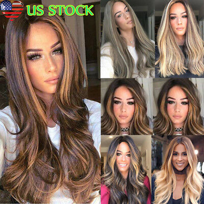28'' Synthetic Straight Long Wigs Ombre Brown Gold Blonde Linen Fashion Hair USA](Wig Blonde)