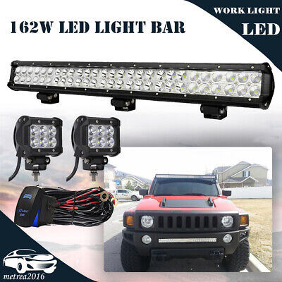 "25IN 162W Dual-Row LED Work Light Bar+PODS KIT For HUMMER Bumper Roof VS 24""26"""