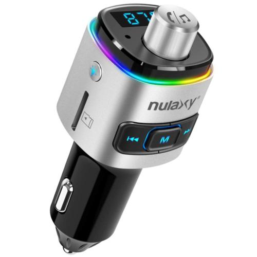 Nulaxy Bluetooth FM Transmitter for Car, 7 Color LED Backlit