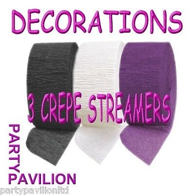 3 Crepe Streamers Black Purple White Birthday Party Decorations Ideas - Weddings (Purple And White Birthday Decorations)