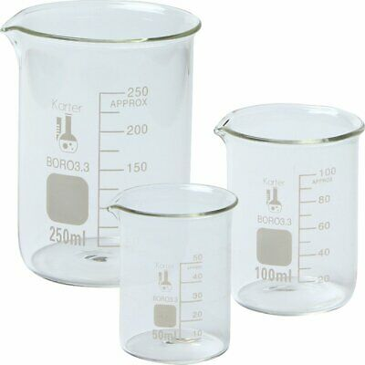 Karter Scientific 214t2 3.3 Boro Griffin Low Form Glass Beaker Set - 3 Siz...