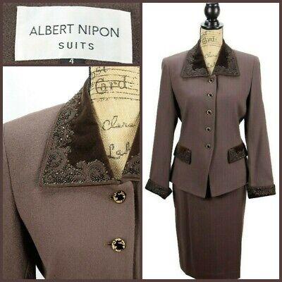 Albert Nipon Womens 2 Pc Skirt Suit Size 4 Chocolate Wool Embellished Blazer  Embellished Womens Suits