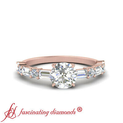 1.25 Ctw Round Cut Diamond Horizontal Baguette Engagement Ring In 14K Rose Gold
