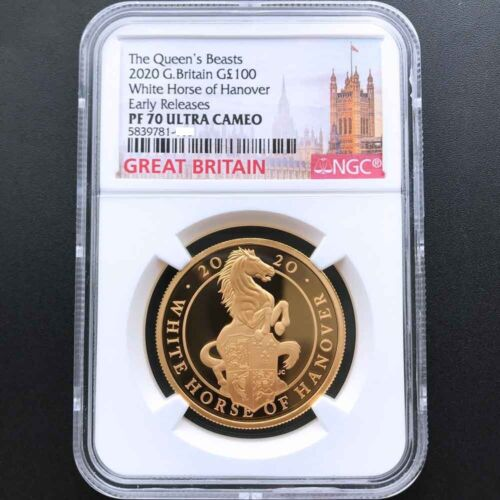 UK 2020 Queen's Beast Great Britain White Horse 1oz Gold Proof Coin NGC PF70 ER