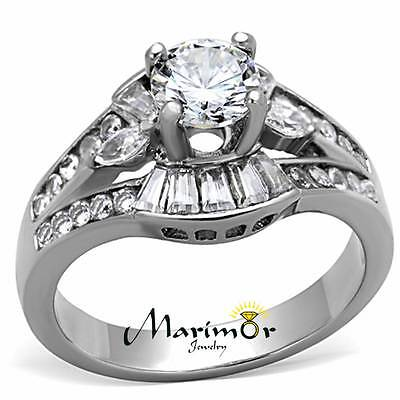 WOMENS AAA CUBIC ZIRCONIA SILVER STAINLESS STEEL ENGAGEMENT WEDDING RING SZ 5-10
