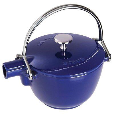 Staub 1650091 1 Quart Cast Iron Round Teapot Tea Kettle, Dark Blue